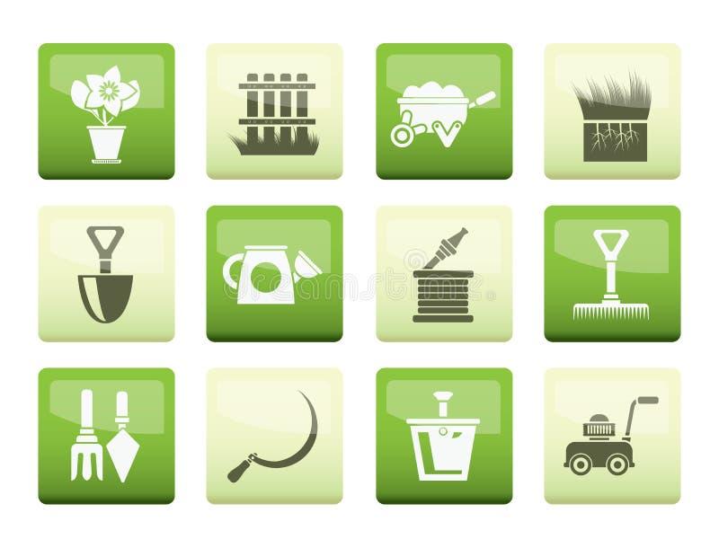 Trädgård och arbeta i trädgården hjälpmedelsymboler över färgbakgrund royaltyfri illustrationer