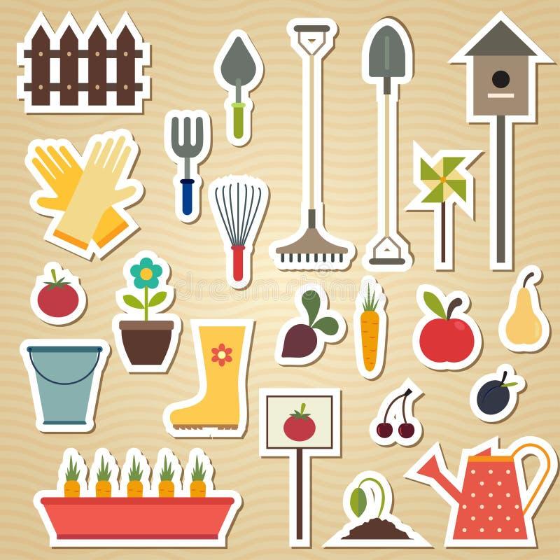Trädgård och arbeta i trädgården hjälpmedelsymbolsuppsättningen på ett ljus royaltyfri illustrationer