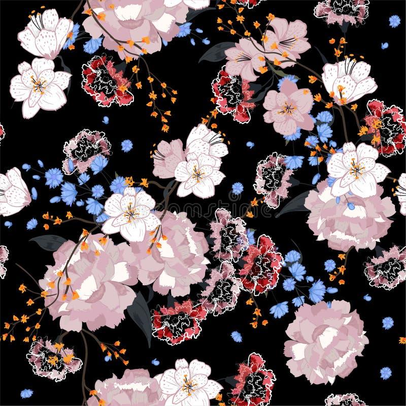 Trädgård Sömlös orientalisk modell med blommande motiv Blomma stock illustrationer