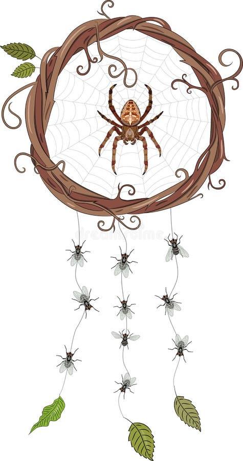 Trädgård-spindeln sammanträde i en rengöringsduk i en krans av vinrankor som bildar en dröm- stoppare och hänger, flyger på rengö royaltyfri illustrationer