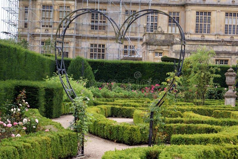 Trädgård steg bågen i formen av en hjärta royaltyfri foto