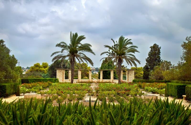 Trädgårdar av Baron Edmond de Rothschild (parkera Ramat Hanadiv), arkivbilder