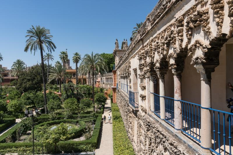 Trädgårdar av den verkliga alcazaren av Seville Andalucia, Spanien arkivfoto