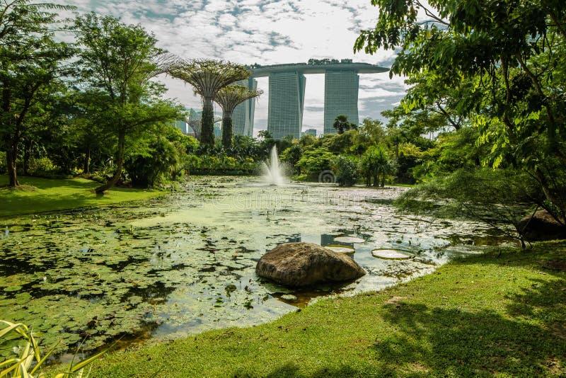 Trädgårdar av Marina Bay Sands, Singapore arkivbilder