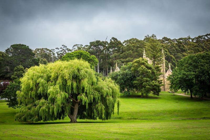 Trädgårdar och byggnader på för kolonivärld för Port Arthur det straff- arvet royaltyfri foto