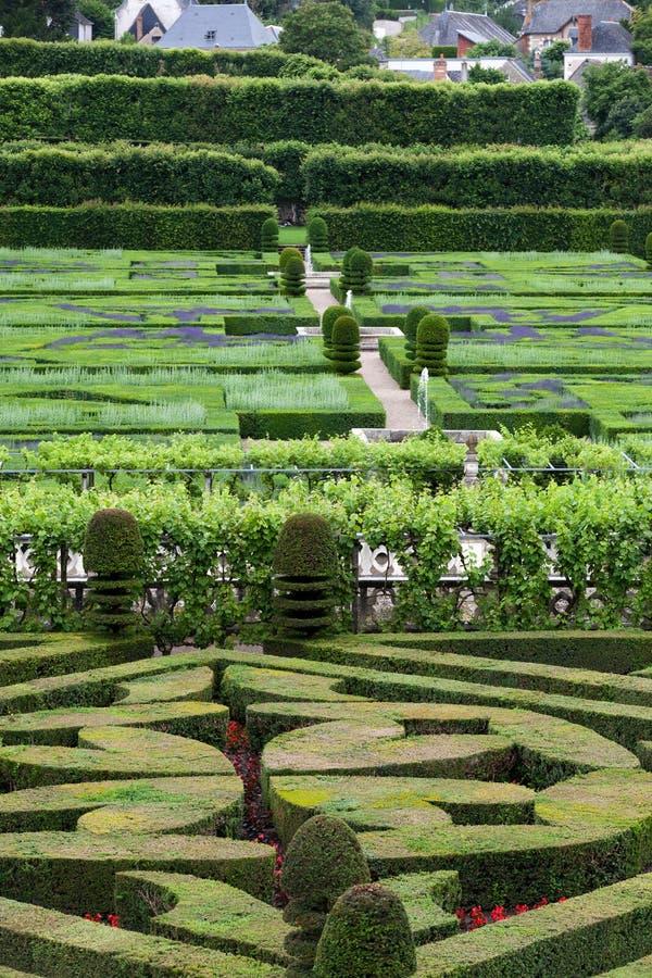 Trädgårdar och Chateau de Villandry arkivfoton