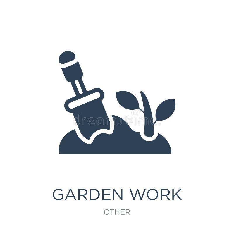 trädgårdarbetssymbol i moderiktig designstil Arbeta i trädgården arbetssymbolen som isoleras på vit bakgrund modern symbol för tr vektor illustrationer