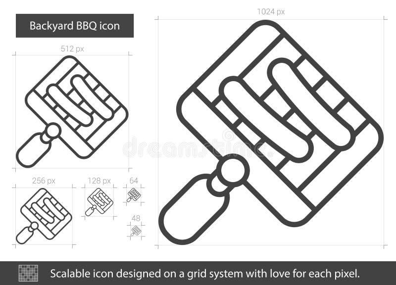 TrädgårdBBQ-linje symbol royaltyfri illustrationer