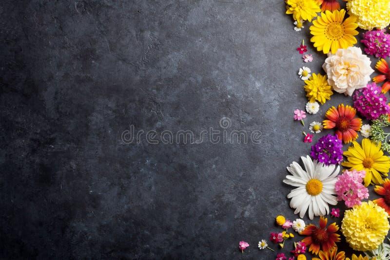 Trädgårdblommor över stentabellbakgrund royaltyfria foton
