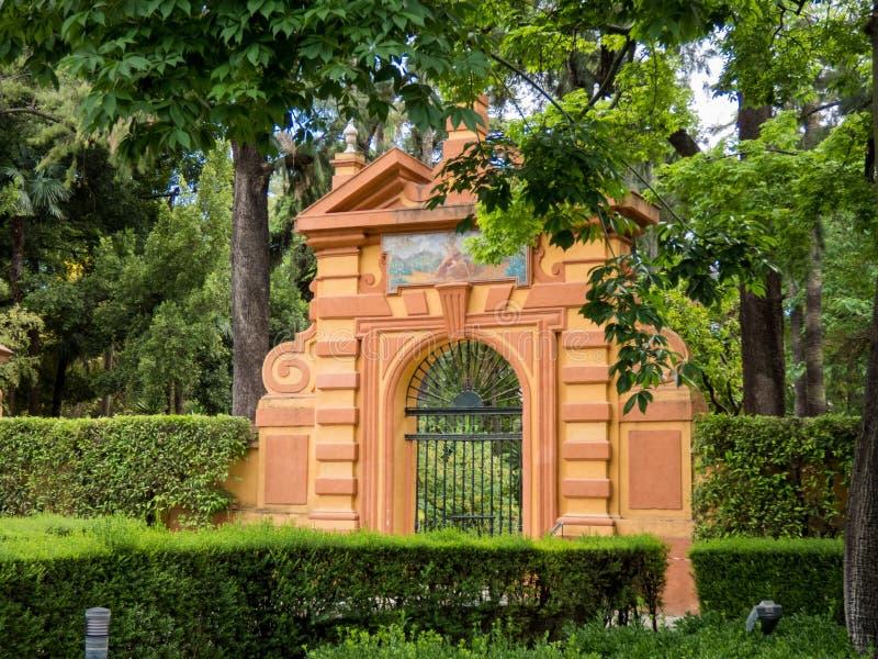 Trädgården av alcazaren, parkerar, Royal Palace, Seville, Andalusia, Spanien, Europa arkivfoton