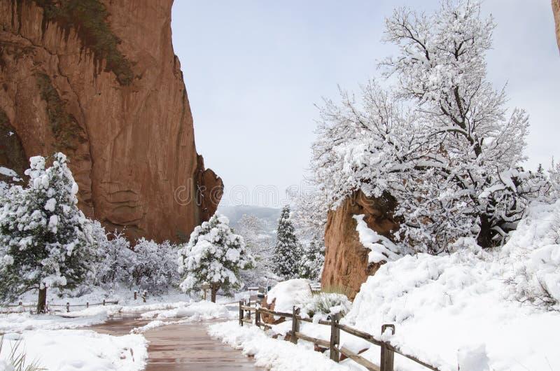 Trädgården av gudarna parkerar i vinter royaltyfri bild