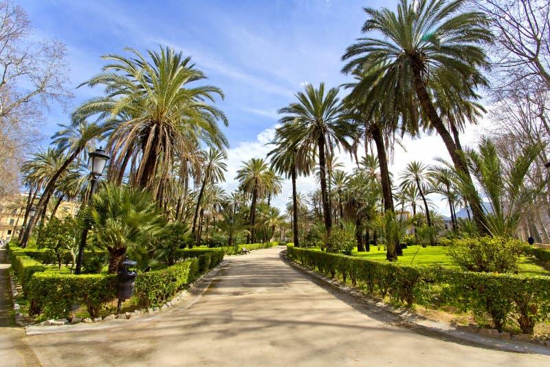 Trädgården av villan Bonanno i Palermo, Sicilien arkivfoton