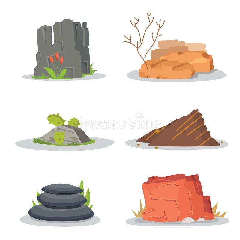 Trädgården vaggar och stenar enkelt eller travt för skada för konstarkitektur för illustration modig design stenblockvektoruppsät stock illustrationer