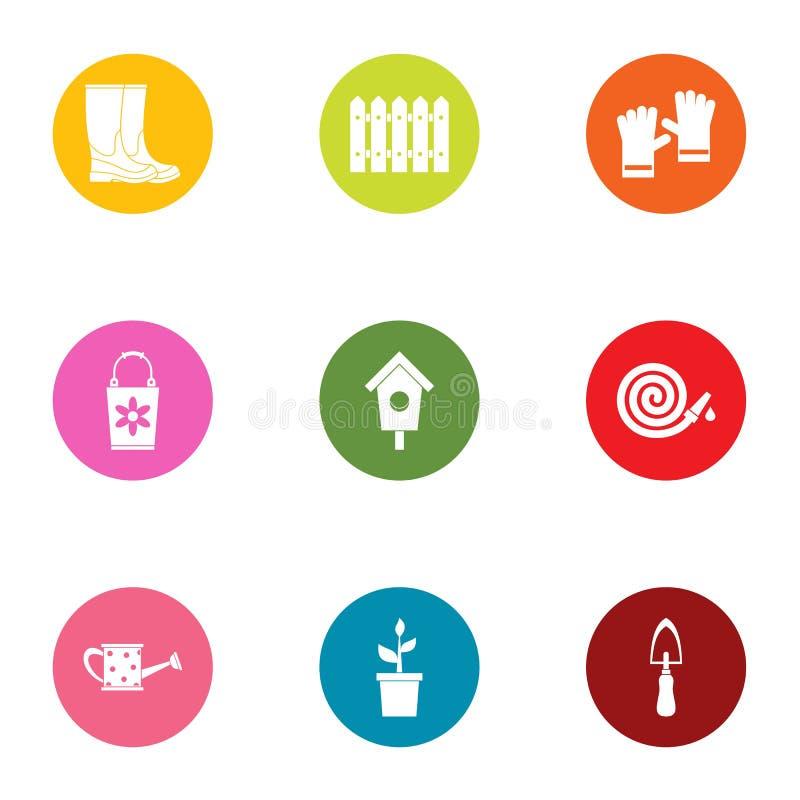Trädgårds- affärssymbolsuppsättning, lägenhetstil vektor illustrationer
