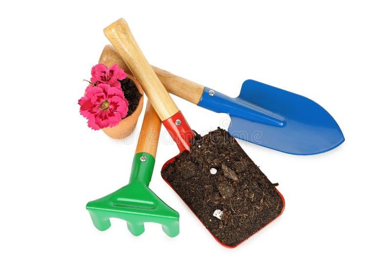 trädgårds- arbeta i trädgården springtimehjälpmedel arkivbilder
