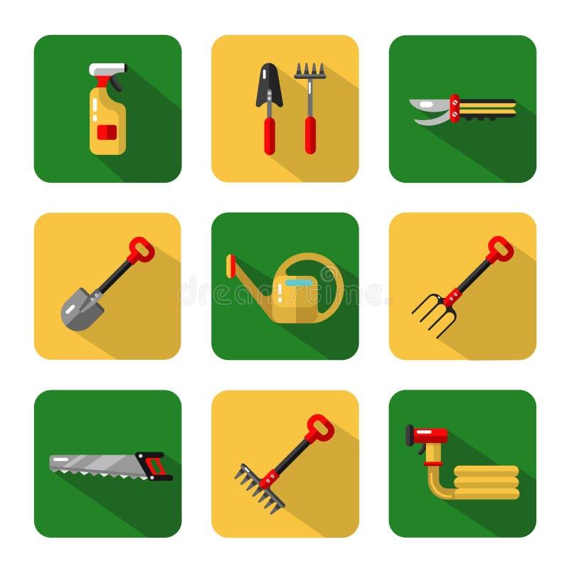 Trädgårds- arbetshjälpmedel royaltyfri illustrationer
