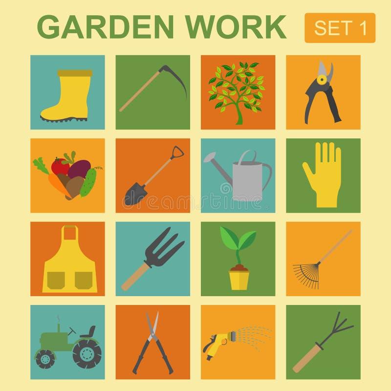 Trädgårds- arbetssymbolsuppsättning fungera för hjälpmedel för arkitektritningbyggnad royaltyfri illustrationer
