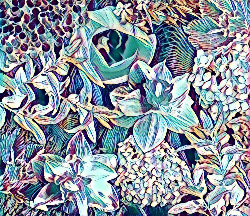 Trädgårds- blommacollage arkivfoto