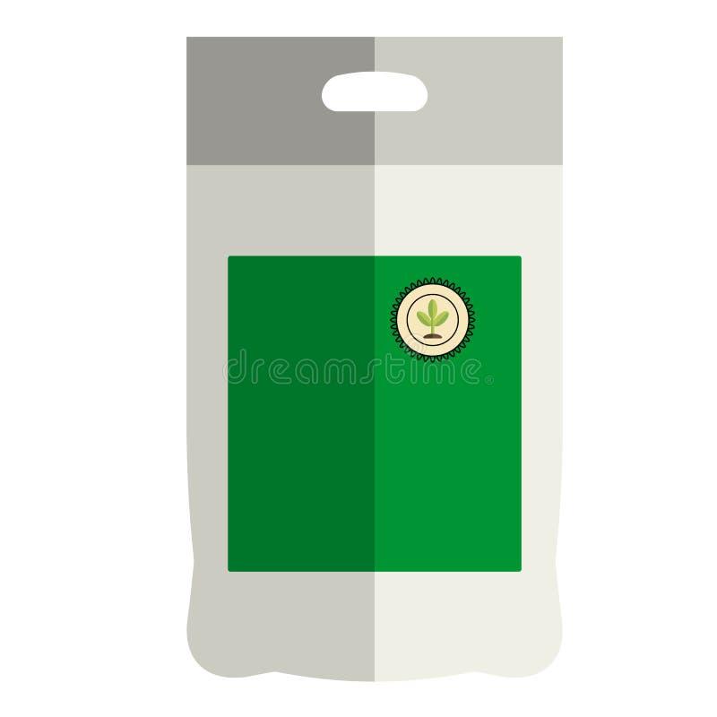 Trädgårds- emballagegödningsmedel, trädgårds- packesymbol, lägenhetstil vektor illustrationer