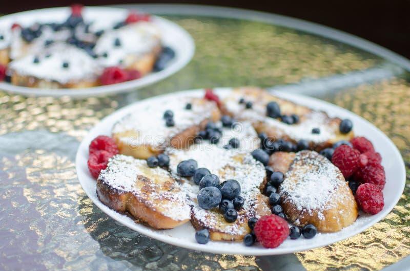 Trädgårds- frukost arkivbild