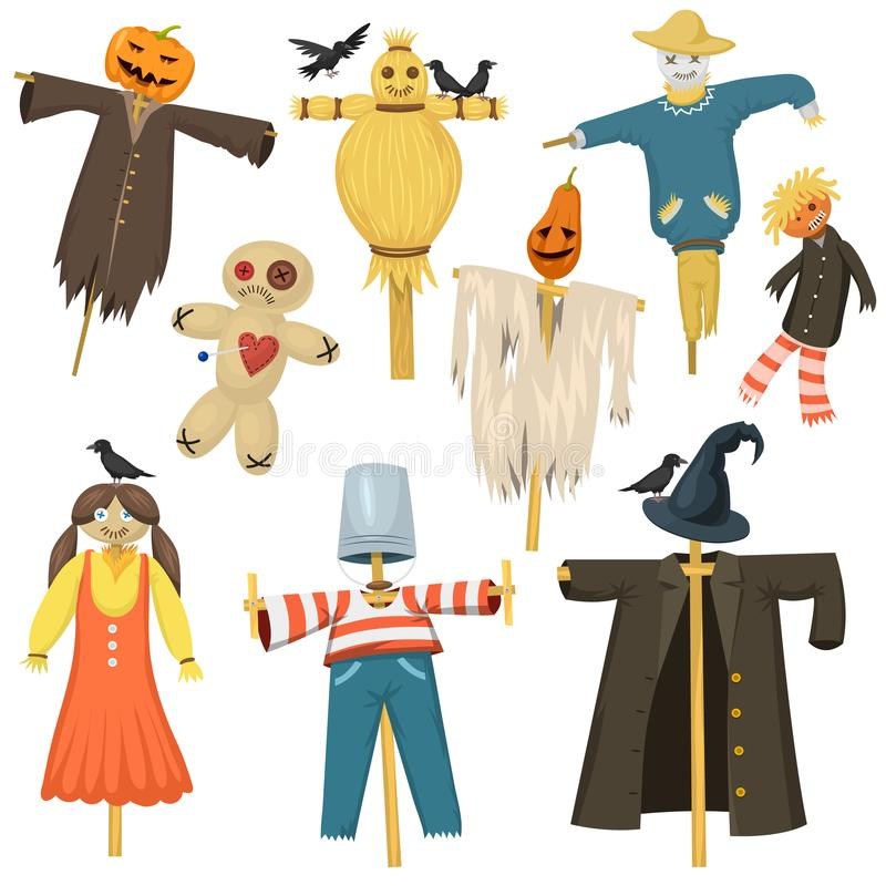 Trädgårds- fula ruskiga dockor för bugaboo för tygfågelskrämmaskrämsel på stiick- och leksaktecken klär från lantgårdtrasdockavek royaltyfri illustrationer
