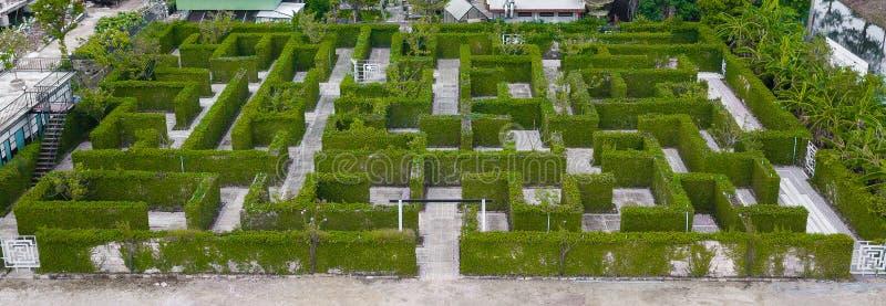 Trädgårds- garnering är en labyrint med det gröna sidaväggstaketet med Co royaltyfria foton