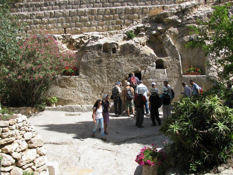 Trädgårds- gravvalv Jerusalem arkivbild