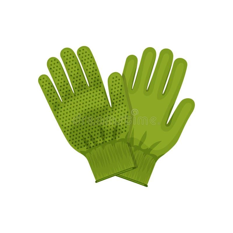 Trädgårds- handskar Illustration av att arbeta i trädgården och trädgårdhjälpmedel Para av handskar Kulör plan symbol, vektordesi vektor illustrationer