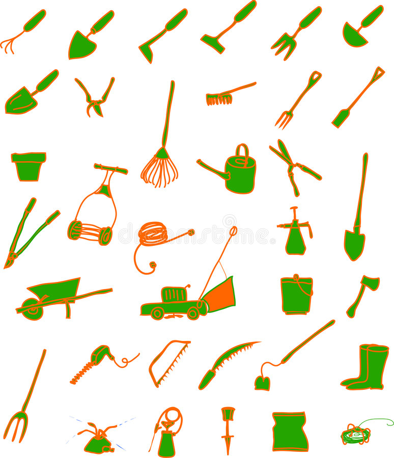 trädgårds- hjälpmedel vektor illustrationer
