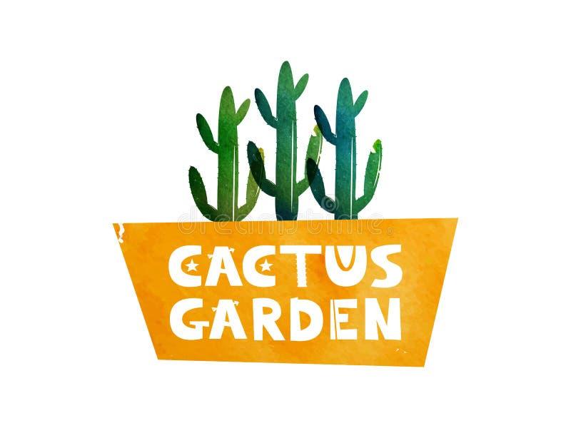Trädgårds- kaktus Logoen för annonsering shoppar att specialisera i kakturnas kaktus isolerad kruka mörk paper vattenfärgyellow f royaltyfri illustrationer