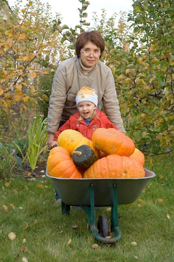 trädgårds- kvinna för barn arkivbilder