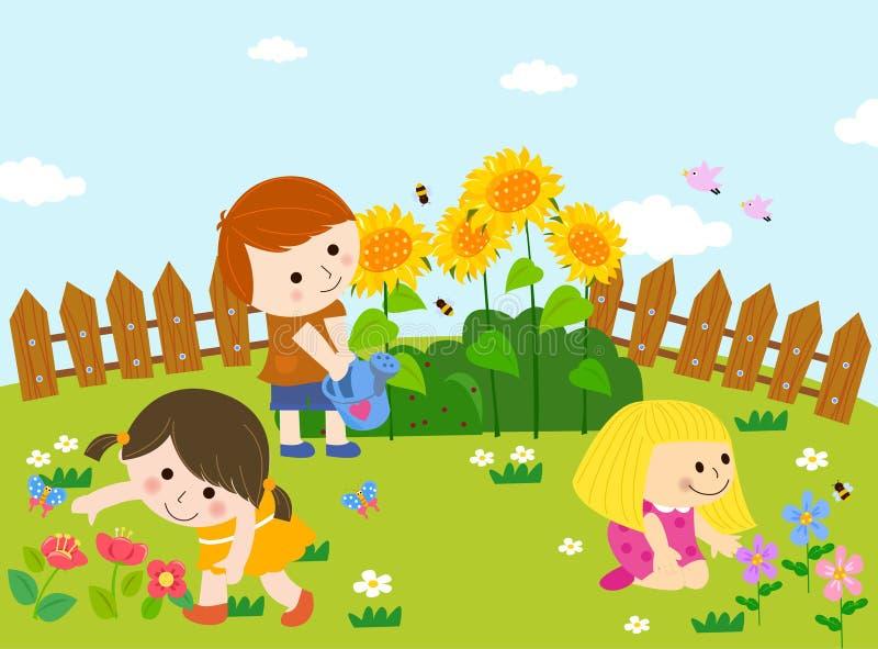 trädgårds- lyckligt vektor illustrationer