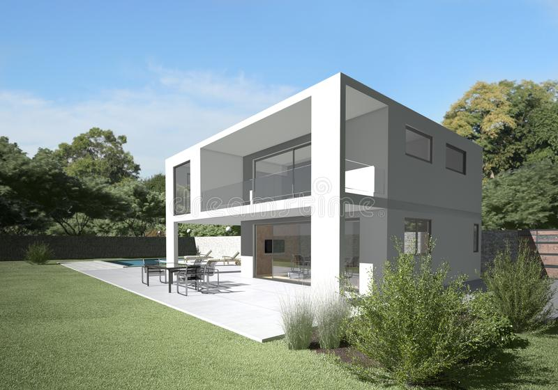 trädgårds- modern terrassvilla arkivfoton