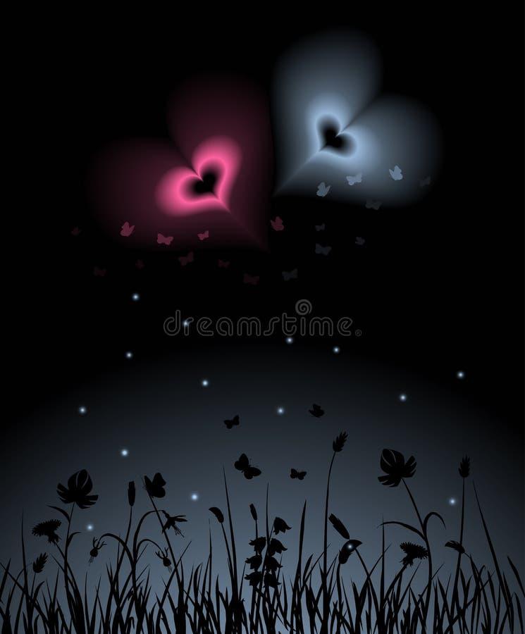 trädgårds- natt royaltyfri illustrationer