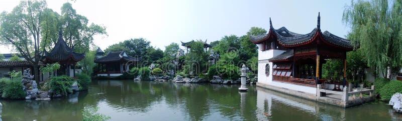 trädgårds- panorama för kines arkivbild