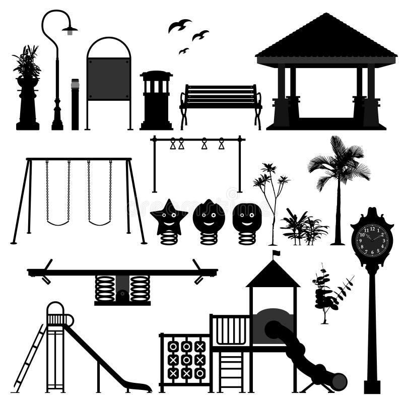 trädgårds- parklekplats för utrustning royaltyfri illustrationer
