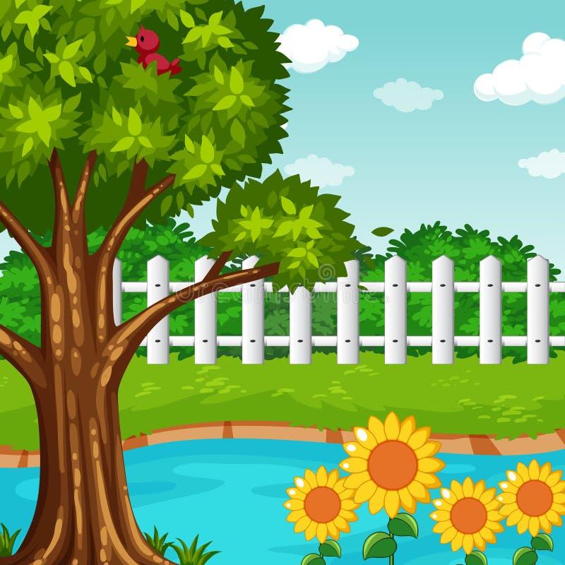 Trädgårds- plats med dammet och blommor vektor illustrationer