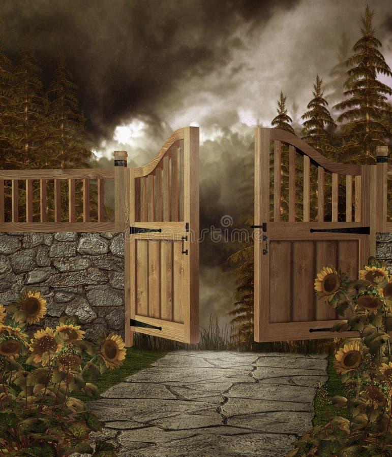 trädgårds- port 2 royaltyfri illustrationer