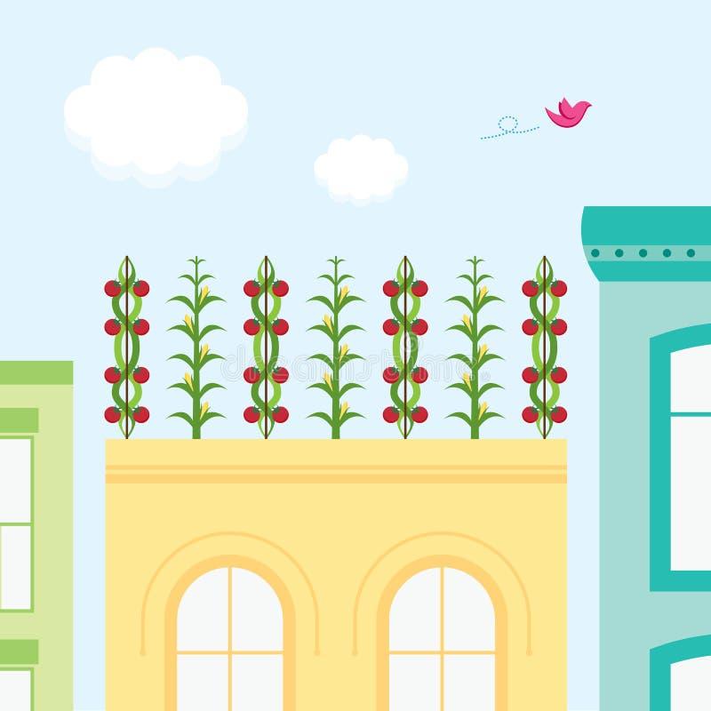 trädgårds- rooftop arkivbild
