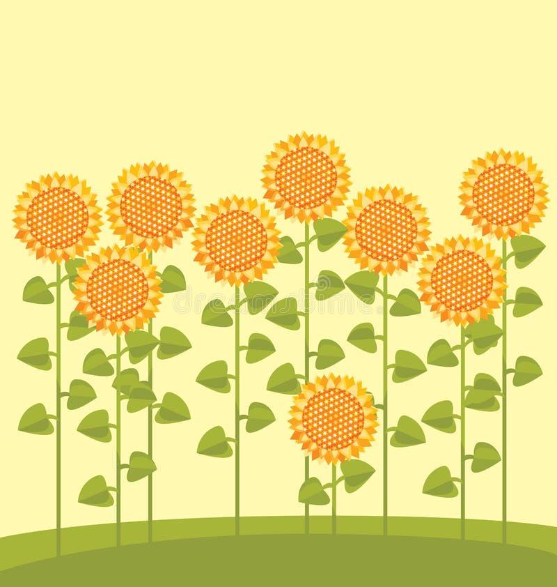 trädgårds- solros royaltyfri illustrationer