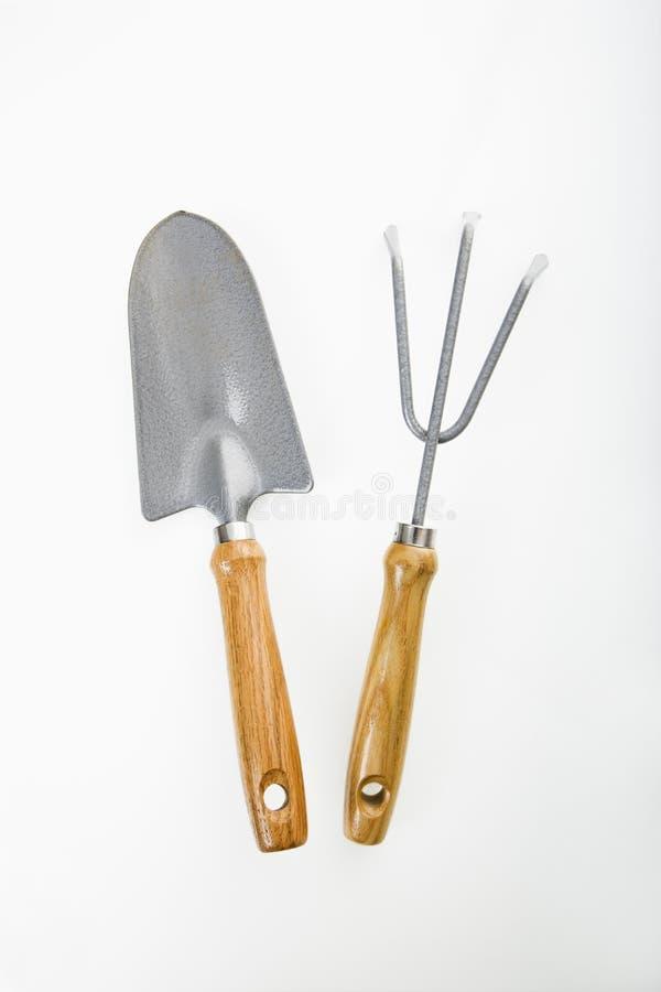 trädgårds- spade för gaffel arkivfoto
