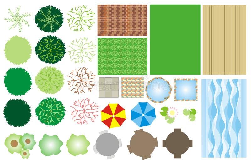 trädgårds- symboler för design stock illustrationer