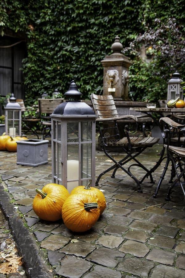 Trädgårds- tabell med pumpor arkivbild