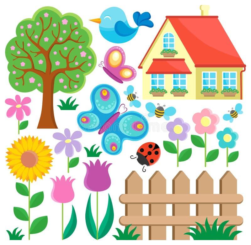 Trädgårds- temasamling   stock illustrationer