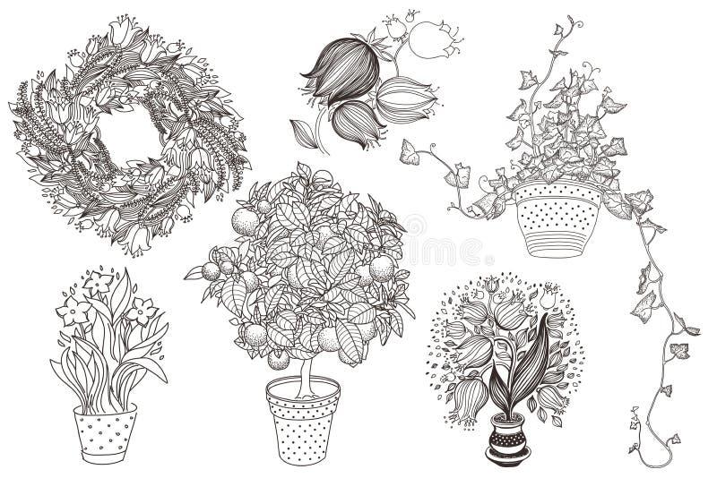 Trädgårds- uppsättning med 6 växter i blomkruka vektor illustrationer