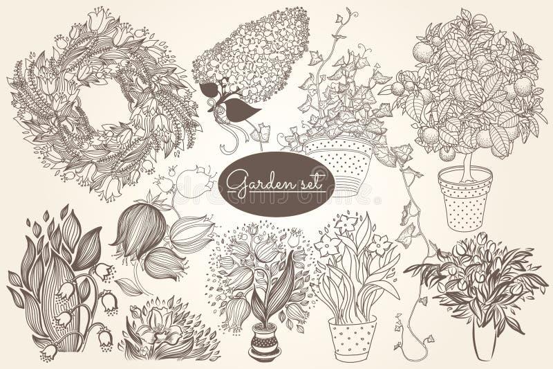Trädgårds- uppsättning med 10 växter i blomkruka vektor illustrationer