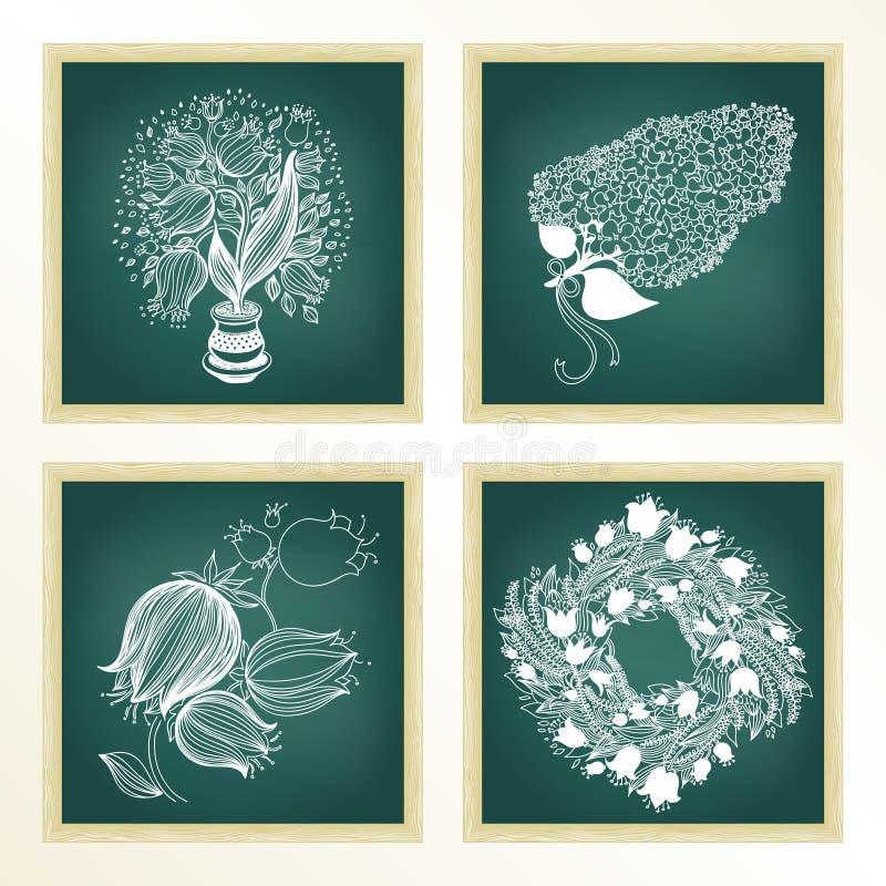 Trädgårds- uppsättning med 4 växter i svart tavla royaltyfri illustrationer
