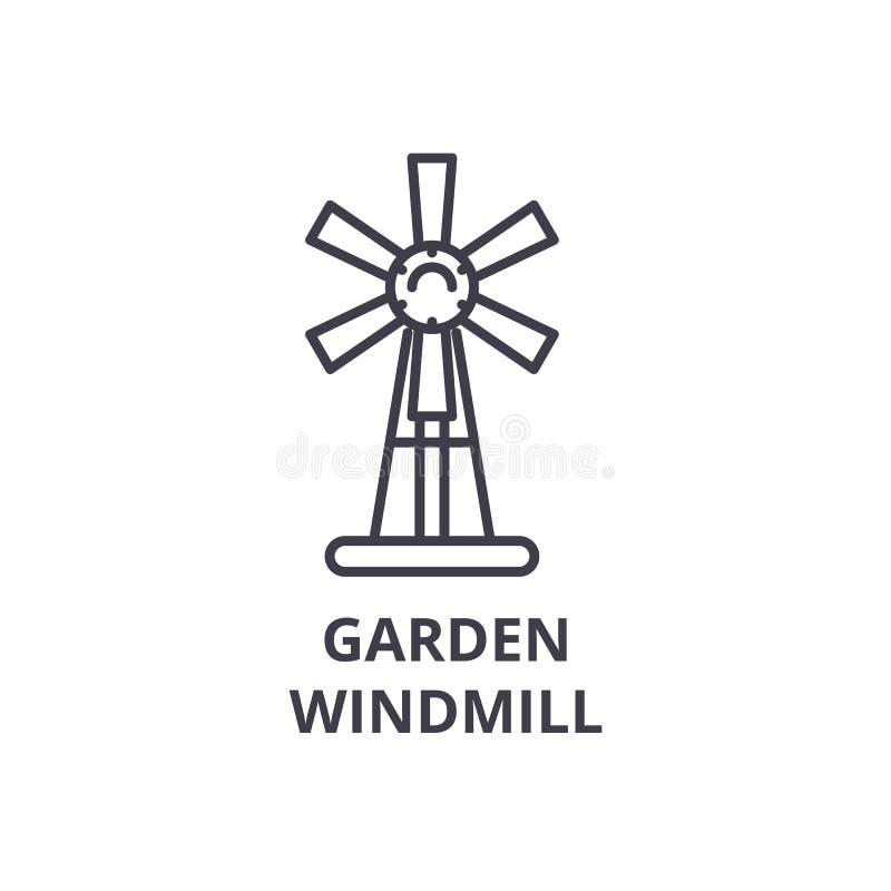 Trädgårds- väderkvarnlinje symbol, översiktstecken, linjärt symbol, vektor, plan illustration royaltyfri illustrationer
