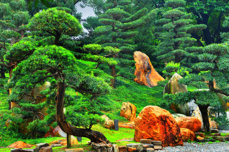 trädgårds- zen arkivbild