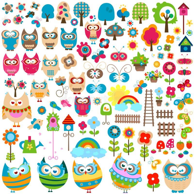 trädgårdset stock illustrationer